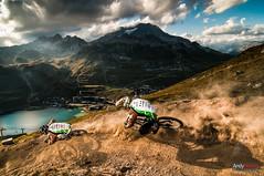 Last descent (andyparant.com) Tags: sunset lake bike sport turn soleil big nikon eau coucher lac tokina solutions tignes dust bicyclette vtt vlo gros bikepark d300 virage 1116 poussire bikesolutions