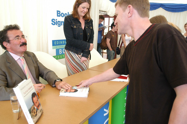 2003 Robert Winston signing books at the 2003 Edinburgh International Book Festival