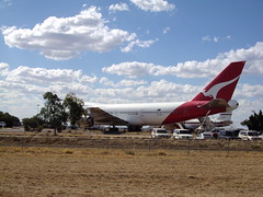 Qantas Boeing 747 in the outback at Longreach western Queensland. It cannot take off. You can tour the plane.
