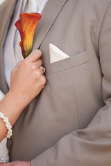 Orange Calla Lily Boutonniere (Soiree Design) Tags: wedding orange groom callalily boutonniere