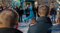 Over the Shoulder (jonnysands) Tags: street new york city nyc black public back dancers over talent adobe artists heads strength spectators fitness shoulder performers ghetto fit witness lightroom