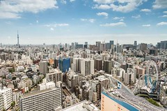 Tokyo skyline (M.Bob) Tags: blue sky urban tree japan skyline modern buildings asian concrete tokyo shinjuku asia cityscape towers international crowded density capitalcity northeastasia