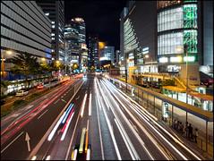 Osaka Night (David Panevin) Tags: road street longexposure light sky japan architecture night clouds buildings olympus  osaka lighttrails kansai umeda omd kitaku  urbanfragments  em5 davidpanevin mzuikodigitaled12mmf2