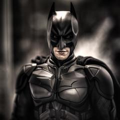 A Dark Knight Rises (Bartfett) Tags: portrait hot up contrast dark toys lights glow close symbol bruce wayne bat christian batman joker knight alfred collectible figurine bale hdr collectibles rises sideshow tonal cowl figuruine