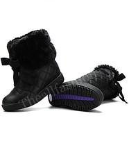 SB-0001-รองเท้าบูทหนังเกรดเอกันน้ำบุขนเฟอร์หนานุ่มอบอุ่นสบายด้านในสามารถพับเป็นบูทสั้นน่ารัก-สีดำ