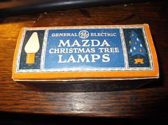 a 1935 box of G.E. Mazda lamps (brown_dan72) Tags: christmas light lamp vintage mazda ge c6 replacment