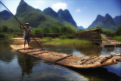 Bamboo rafting in Li River. (Sunset Dogs) Tags: