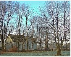 Hancock County, Indiana.  The only sound is the crunch of our feet on the early morning frost, almost deafening. (Ronald (Ron) Douglas Frazier) Tags: farmhouse rural empty country indiana forgotten abandonded treesleaflesslonely