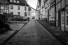 Cobblestone (Mister Cro) Tags: street blackandwhite bw house architecture canon germany europe cobble cobblestone oldhouse oldstreet oldcity 30mm 2013 650d halftimberhouse