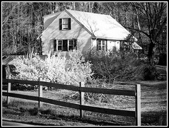 Black & White Spring Photo Created by STEVEN CHATEAUNEUF On December 13, 2013 - Created From My Original Colored Spring  Photo Taken On March 30, 2012 (snc145) Tags: door trees windows roof chimney usa house nature grass fence landscape outdoors photography lights photo blackwhite spring scenery seasons photos massachusetts lawn digitalcamera bushes chelmsford grovestreet forsythiabush kodakeasysharec913 stevenchateauneuf march302012 december132013