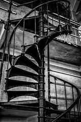 Alcatraz - Cell House Spiral Staircase (King Grecko) Tags: sanfrancisco california statepark blackandwhite usa white black abandoned contrast america canon spiral eos us san francisco mood moody escape urbandecay steps clarity atmosphere prison staircase jail bayarea americana 5d alcatraz morris therock dslr atmospheric alcapone nationalmonument prisoner topaz lightroom incarceration alcatrazisland alcatrazprison mk3 inmates anglin nationalstatepark nikefex escapefromalcatraz alcatrazcruises alcatraztours 5dmkiii statenationalpark silverefexpro2 statenationalmonument usstatenationalpark