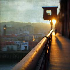 a bridge across our fears (1crzqbn) Tags: lensbaby cityscape sunset shadows abridgeacrossourfears 1crzqbn blur bokeh texture square color broadwaybridge pdx unionstation 7d sliderssunday hss