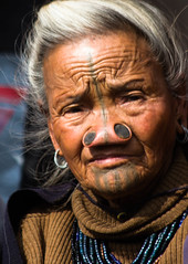 Old Apatani lady (rob of rochdale) Tags: portrait indian ngc tattoos inida neindia arunachalpradesh ziro apatani noseplugs robhaich