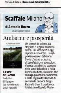 """Recensione a """"Il paese dell'acqua"""" (ASP-NodoLibri ed., MI-Como, 2013) di Antonio Bozzo, in Corriere della Sera - Milano (Scaffale - Tempo libero), 2 febbraio 2014, p. 19."""