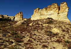 Kansas badlands #13 (jimsawthat) Tags: rural erosion limestone kansas yucca quinter highplains chalkpyramids vision:mountain=0663 vision:plant=0786 vision:sky=0589 vision:clouds=0637 vision:outdoor=0972