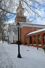 First Baptist Church of Roswell (StGrundy) Tags: trees atlanta winter usa snow storm brick history ice church architecture clouds georgia nikon streetlamps snowy south roswell 19thcentury footprints historic steeple southern baptist hdr 2014 1872 photomatix d7000 firstbaptistchurchofroswell