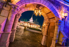 Entering the Royal Courtyard (TheTimeTheSpace) Tags: night stars nikon carousel disney disneyworld waltdisneyworld hdr magickingdom fantasyland d800 princecharmingregalcarousel cinderellacourtyard
