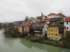 Old town from Kandijski most, Novo Mesto, Slovenia (Paul McClure DC) Tags: architecture river scenery historic slovenia slovenija krka novomesto dolenjska feb2014