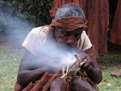 Batwa making fire 209 (David Bygott) Tags: africa uganda 2014 nge batwa buhoma davidbygott