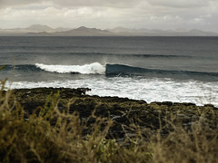 The Wave (davemiks) Tags: sea mountains beautiful point landscape islands la spain surf break wind tube wave lanzarote canary reef surfspot graciosa lamontaaamarilla