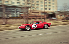 Ferrari Dino (Matthew Britton) Tags: auto red motion classic car vintage matt nikon driving dino action matthew images ferrari mb rolling britton v6 d300s