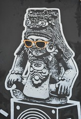 Zapotec Hipster Oaxaca Mexico (Ilhuicamina) Tags: streetart art archaeology sunglasses mexico graffiti paintings mexican figurine zapotec