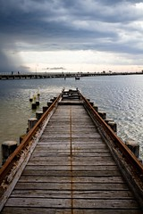 Pier to no where (Matthew Kenwrick) Tags: wood seagulls storm water clouds pier iron jetty perspective rail australia melbourne sharp disused freight stkilda saintkilda oldi