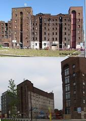 Bridgewater Street, Liverpool. 2009 and 2014. (philipgmayer) Tags: liverpool bridgewater demolished warehouses 2009 2014 600 1000