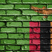 National Flag of Zambia on a Brick Wall