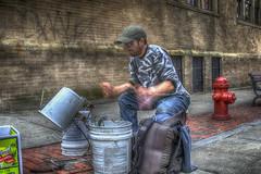 Street Bucket Drummer (macnetdaemon) Tags: outside outdoor person people musician street drummer bucket plastc drums hdr brick city scene daytime sidewalk performer