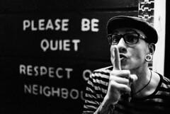 please be quiet (brenkee) Tags: blackandwhite ilford delta 400 push pleasebequiet respectourneighbours musician singer dreamshade pssst earplugs glasses canon eos3 50mm 14 3200 ddx wien vienna dasbach portrait monochrome filmisnotdead film buyfilmnotmegapixels analog