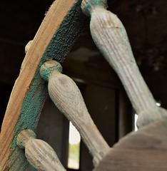 Ornate decay (slammerking) Tags: ornate spindle peelingpaint wood woodgrain screendoor abandoned green decay forgotten patina weatherd