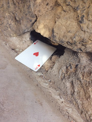 Secret Ace in the Hole (garlandcannon) Tags: rockwall holeinthewall aceofhearts odc fece playingcard idiom midsummernightsdream whimsy