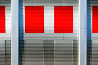 Facade with 4 red panels