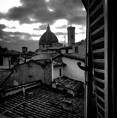 """""""Firenze"""" (giannipaoloziliani) Tags: toscana architecture historic historiccentre sunlight light clouds roofs panorama story art blackandwhite monochrome nikonofficial nikonphotography nikoncamera nikond3200 nikon view window belltower dome brunelleschi giotto florence firenze flickr"""