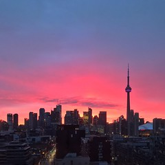 Pink Dawn (@ThetaState) Tags: toronto ontario canada april 2017 dawn sunrise skyline pink blue intense cityscape cntower urban financialdistrict downtown kingstreetwest nofilter