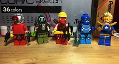 DC Figs (LordAllo) Tags: lego dc deadshot atomic skull red arrow blue beetle booster gold
