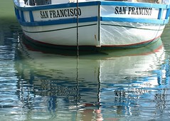 Boat reflection at Fishermen's Wharf in San Francisco (janetbland) Tags: bland white blue goldengate canoneos wave abstract fishermenswharf sanfrancisco sea water reflection boat