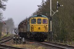 Class 33 No. D6535 (Kev Gregory) Tags: damp dismal conditions see class 33 no d6535 approaching quorn woodhouse with 2c28 1335 loughborough service during great central railway spring diesel gala 18th march 2017 kev gregory sigma 50500 50 500 zoom telephoto bigma british rail gcr heritage preserved line