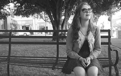 Days (Lilly K Mayfield) Tags: lighting city light portrait blackandwhite bw black beautiful sunglasses outside photography town photo blackwhite lightsandshadows downtown pretty shadows streetphotography happiness laughter dailylife parkbench blacknwhite prettygirl beautifulgirl reflectioninsunglasses reflectionoflight
