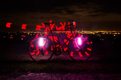 Fibre Flare Light Painting (ibikenz) Tags: longexposure lightpainting bike bicycle night downtown view steel auckland skytower healing denis forresthill bicyclecommuter rx100 monkeylectric m232 monkeylight fibreflare sonycybershotdscrx100