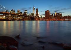 Brooklyn Bridge & Manhattan (.annajane) Tags: nyc newyorkcity longexposure blue water skyline brooklyn night river cityscape dusk worldtradecenter carousel brooklynbridge eastriver verizon brooklynbridgepar