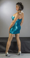 Shiny & Blue & Curvy Too! (kaceycd) Tags: pumps highheels metallic tgirl stilettoheels pantyhose crossdress spandex lycra tg stilettos sequin minidress wetlook sequined tubedress sexypumps stilettopumps