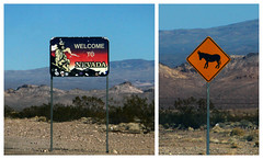 Welcome to Nevada (lefeber) Tags: signs mountains sign composite landscape diptych desert nevada donkey whitemountains roadtrip valley deathvalley miner