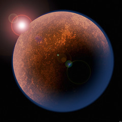C49R62 (Gianvittorio) Tags: red mars orange sun black illustration night landscape dead star solar 3d haze globe war desert render space flight away scene science crater planet astronomy universe exploration far cosmos