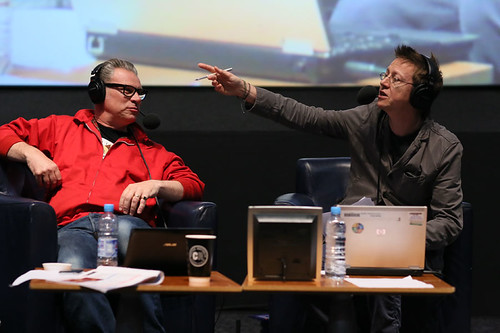 DJ Simon Mayo and Film Critic Mark Kermode during the Radio 5 Live event at the Cineworld