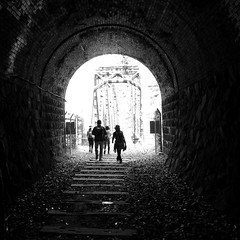in tunnel life (troutfactory) Tags: bridge blackandwhite bw monochrome silhouette japan digital square tunnel  kansai    takedao abandonedtraintracks ricohgrd2