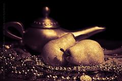 keeping up appearances (paloetic) Tags: stilllife horizontal fruit gold pears pair australia nsw teapot aus riches hipscarf waverton goldenhues
