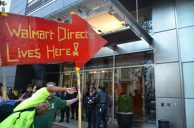 Protest at Walmart Board Member & Yahoo CEO Marissa Mayers $5 million penthouse condo