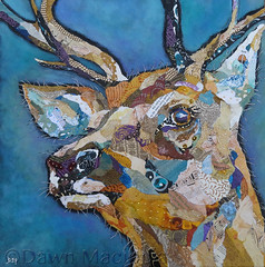 Red Deer Buck II  (dawndm) Tags: red art collage paper deer torn chrissharratt dawnmaciocia